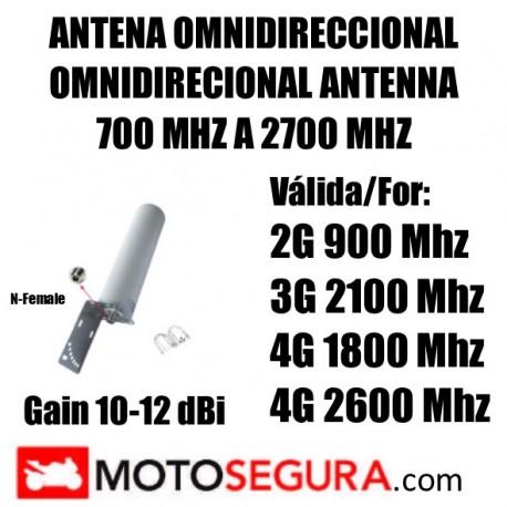 Antena exterior OMNIDIRECIONAL GSM 3G 4G 900 2100 1800 Mhz conector N-Female