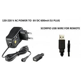 Cargador de pared Scorpio 220V + Cable USB para mando Scorpio