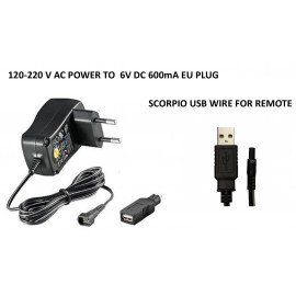 Wall charger 220V for Scorpio Alarms EU plug with USB wire Scorpio