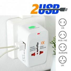 Adaptador de viaje US/EU/UK/AU con 2 puertos USB de 1000 mA