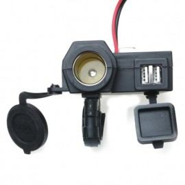 2 USB 12-24V WATERPROOF MOTORCYCLE POWER ADAPTER