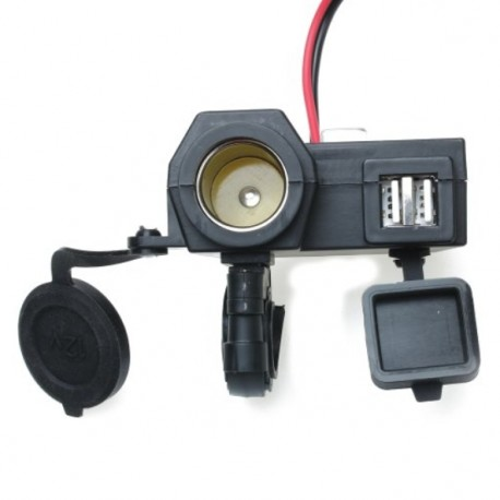 CARGADOR DOBLE USB 12V-24V WATERPROOF MOTO