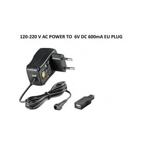 Cargador 120-220V 600mA USB 6V (válido para Alarmas Scorpio)