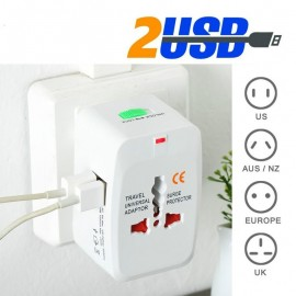All in one travel charger with 2 USB and EU UK USA AU plugs